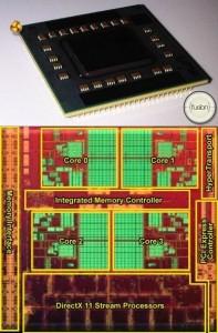 Un procesor AMD Llano (deasupra) / arhitectura interna a acestui procesor (sub)